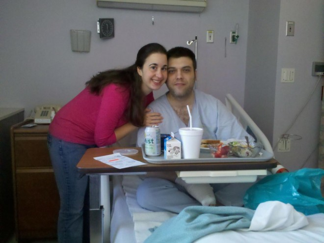 Kay at hospital with fiancee