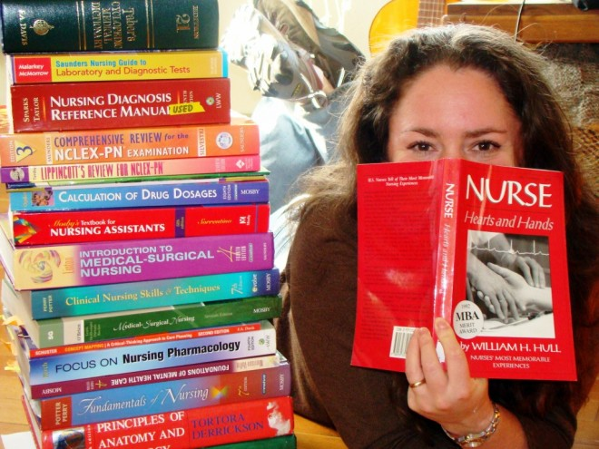 Nurse studying